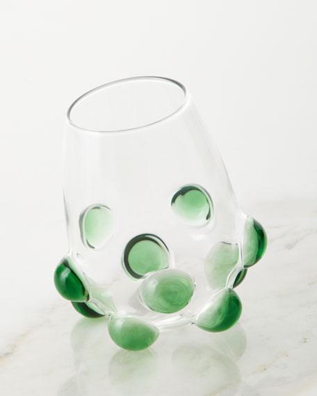 Massimo Lunardon Bubble Wine Glass, Green