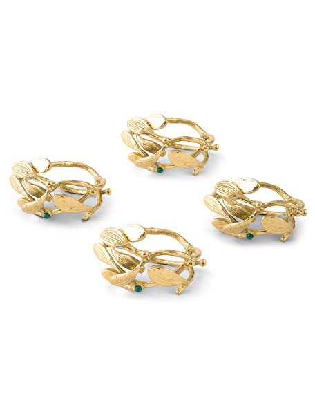 Michael Aram Mistletoe Napkin Rings, Set of 4