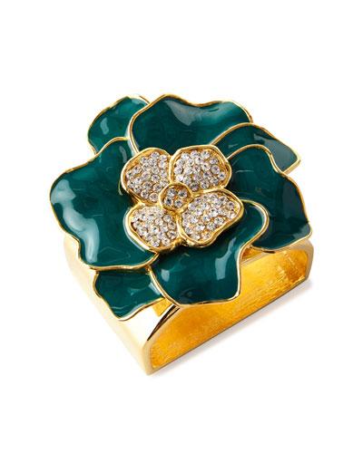 Forest Green 24K Gold Flower Napkin Ring, Set of 4