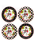 MacKenzie-Childs Top Hat Snowman Plates, Set of 4