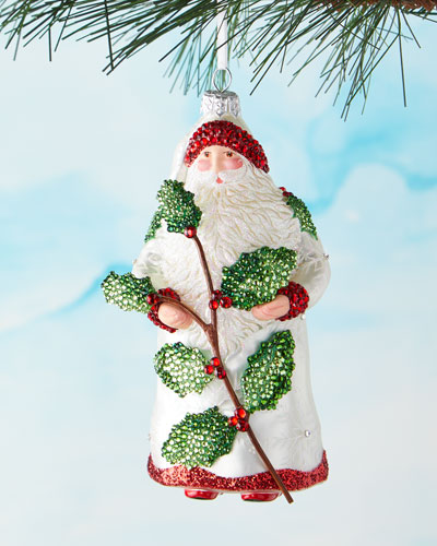 Santa Holding Holly Ornament