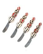 MacKenzie-Childs Red Tartan Canape Knives, Set of 4