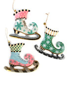 MacKenzie-Childs Home Sweet Snow Skate Ornaments, Set of