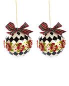 MacKenzie-Childs Capiz Harlequin Poinsettia Ball Ornaments, Set