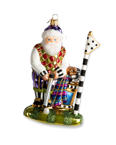 Santa On The Green Glass Ornament