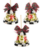 MacKenzie-Childs Capiz Check Bell Ornaments, Set of 3