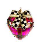 MacKenzie-Childs Plaid Heart Glass Ornament
