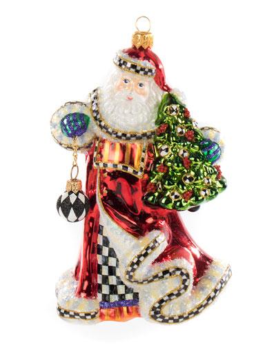 Tis The Season Santa Glass Ornament