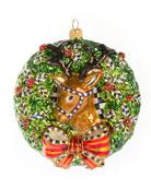 MacKenzie-Childs 2019 Deer Wreath Glass Ornament