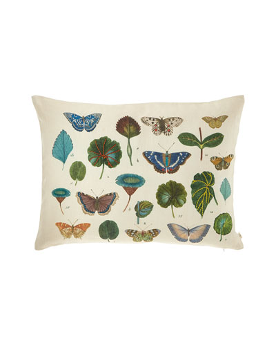 A Leaf and Butterfly Study Linen Pillow