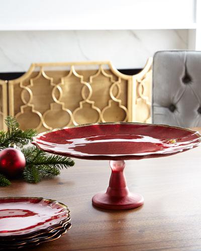 Baroque Glass Red Cake Platter