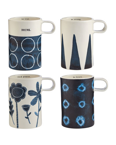 Indigo Dreams Tall Mugs, Set of 4