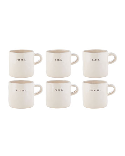 Classic Word Mugs, Set of 6
