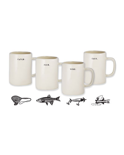 Classic Fishing Mugs, Set of 4