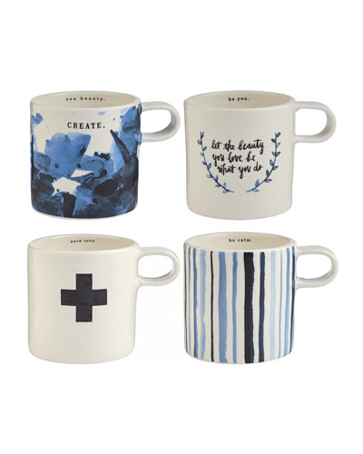 Indigo Dreams Short Mugs, Set of 4