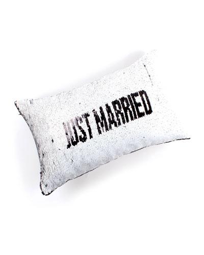 Just Married/The Honeymoons Over Flip Sequin Lumbar Pillow