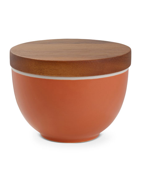 Nambe Prism Candle Bowl with Lid, Persimmon