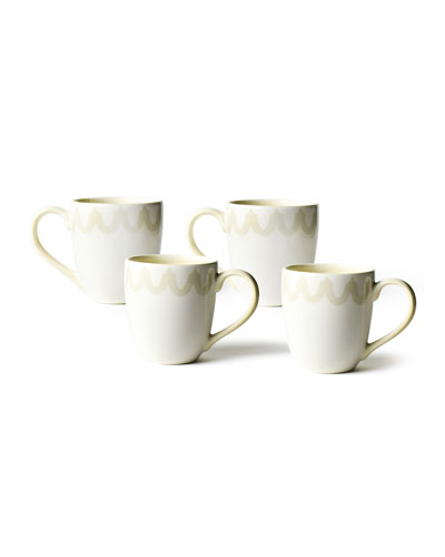 Arabesque Trim Mugs, Set of 4