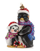 Jay Strongwater Father And Child Penguin Glass Christmas