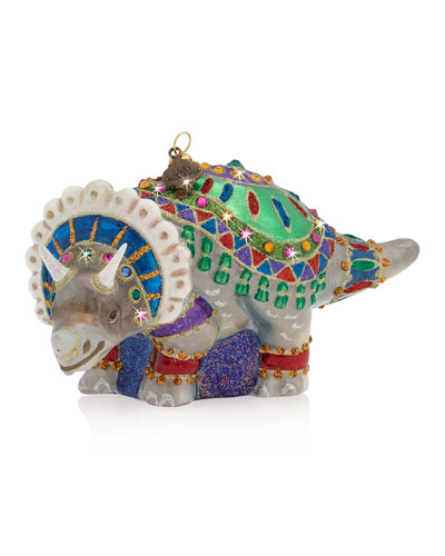 Triceratops Glass Ornament