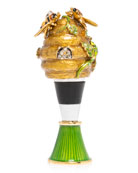 Jay Strongwater Beehive Wine Stopper and Stand