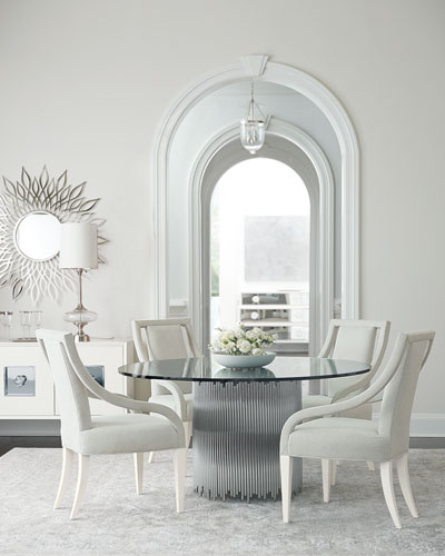 Calista Round Metal & Glass Dining Table