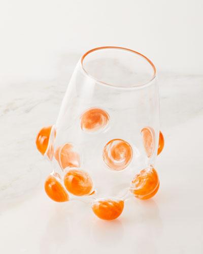Bubble Wine Glass, Orange