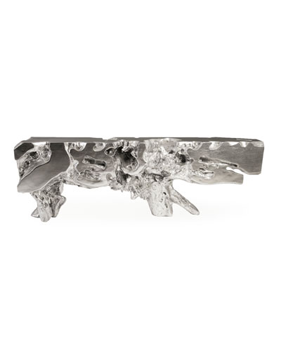 Large Freeform Silver Leaf Console Table