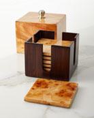 LADORADA Burl Veneer Luxe Coaster Box Set