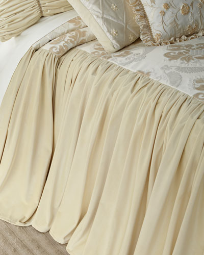Deluxe Damask Queen Coverlet with Velvet Skirt