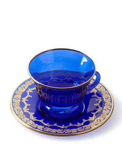 Blue Oro Bello Teacups & Saucers, Set of 4