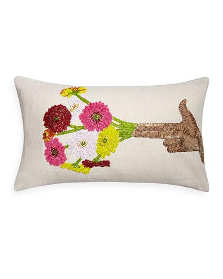 Jonathan Adler Hand Flower Beaded Pillow