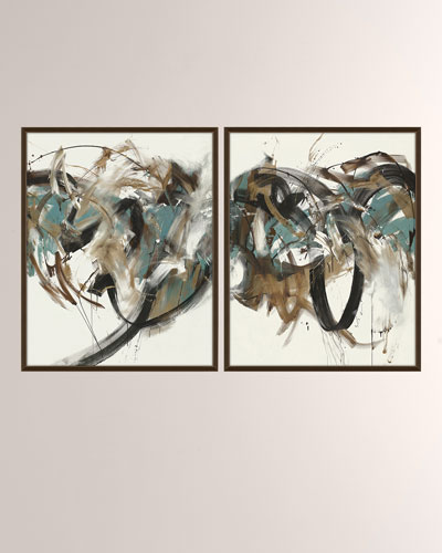 Energy Force Giclee On Canvas Wall Art With Frame, Set of 2