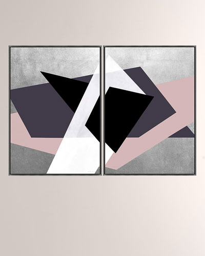 Urban Juxtaposition Pink Giclee On Canvas Wall Art With Frame, Set of Two