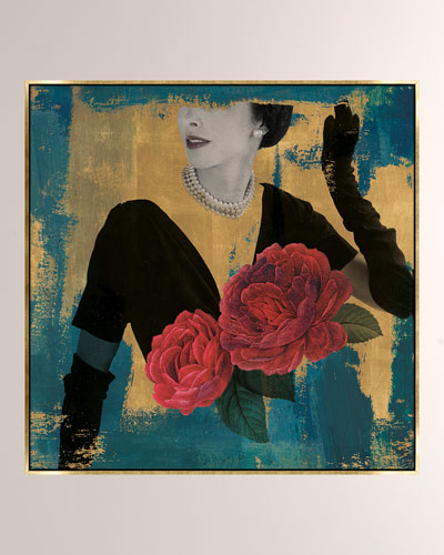 Floral Fashionista Giclee On Canvas Wall Art With Frame