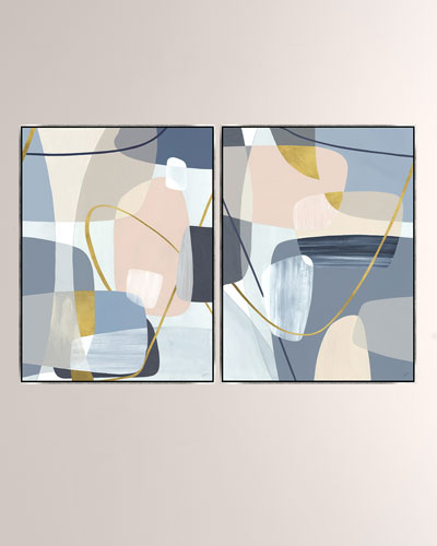 Shapes Over Shapes Giclee On Canvas Wall Art With Frame, Set of 2