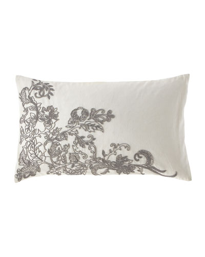 Linen Lumbar Pillow with Floral Beading