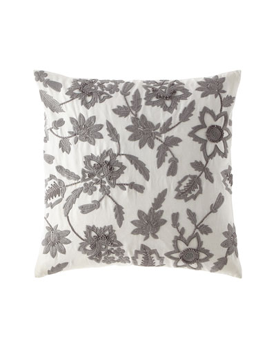Linen Floral Embroidered Pillow, 22