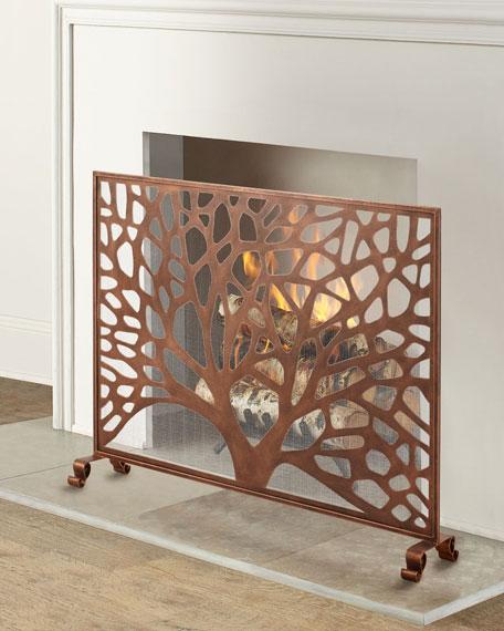 Tree Design Single Panel Fireplace Screen