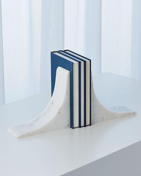 Global Views Sleek Marble Bookends - White
