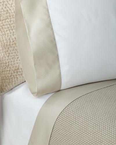 RLC Pique Border Satin Standard  Pillowcases, Set of Two