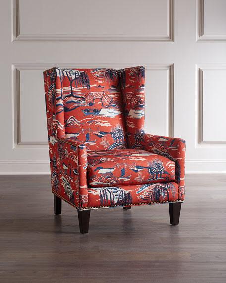 Massoud Claret Wing Chair