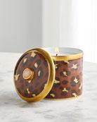 L'Objet Leopard Candle with Rose Quartz, 10 oz.