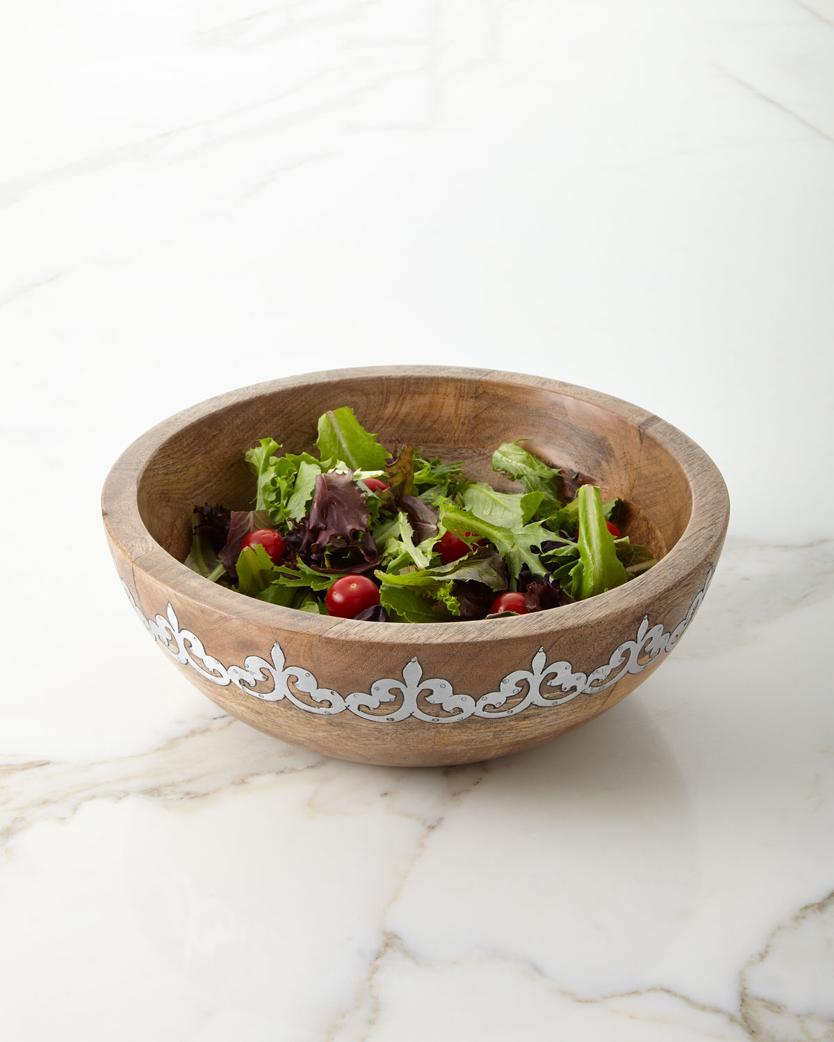 Mango Wood Wide Serving Bowl with Metal Inlay