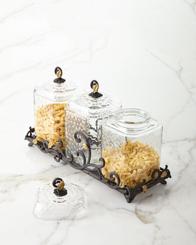 Textured Glass Canisters, Set of 3