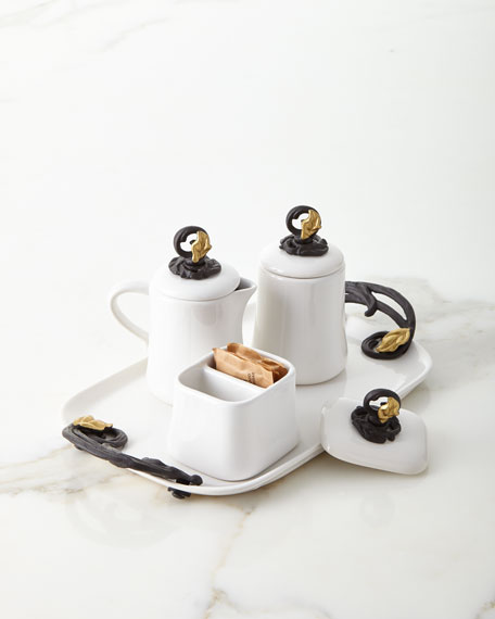 G G Collection White Stoneware Cream and Sugar Set on Tray