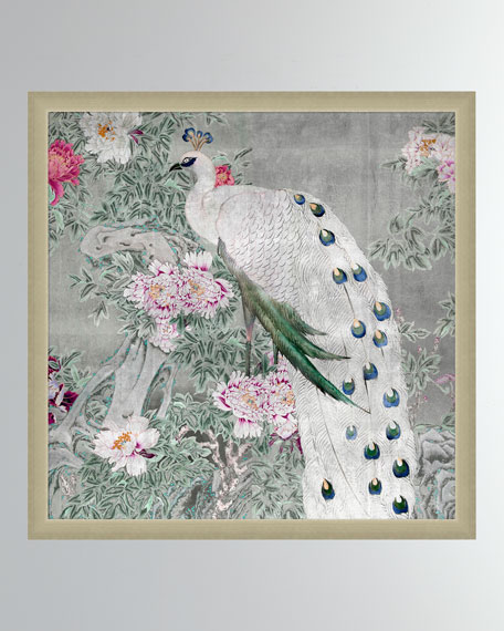 'Peony Blossom Peacock' Wall Art
