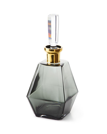 Global Views Smoke Decanter with Gold Neck