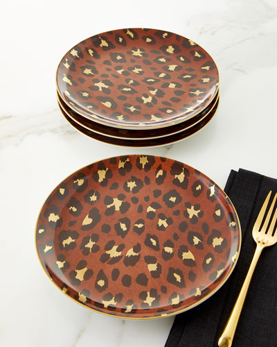 Leopard Dessert Plates, Set of 4