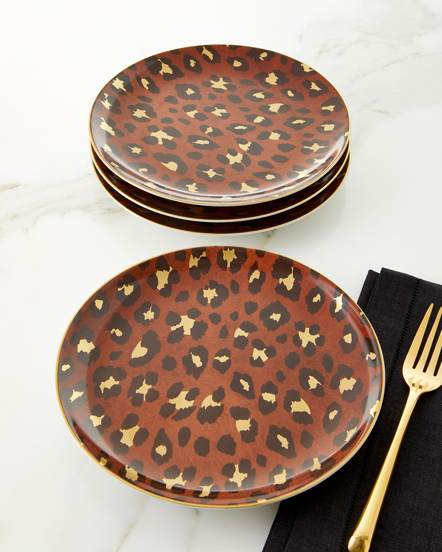 L'objet Dinnerwares LEOPARD DESSERT PLATES, SET OF 4